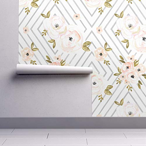 Peel-and-Stick Removable Wallpaper - Watercolor Floral Diamond Peach Rose Floral Geometric Peach Rose Gray by Crystal Walen - 24in x 60in Woven Textured Peel-and-Stick Removable Wallpaper - Orange Geometric Wallpaper
