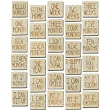 Baby Monthly Photo Cards Square Set of 15 Double Sided Wooden Engraved Discs | Reversible with Weeks, Months, Holidays and In