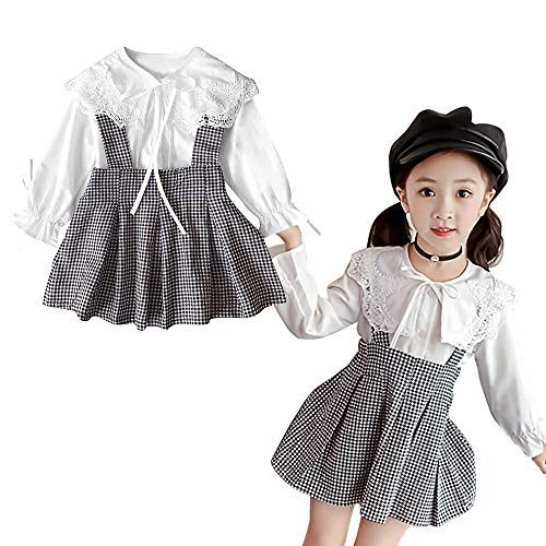 (Toddler Kid Girl Outfit Long Sleeve Lotus Leaf Lace T-shirt + Plaid Strap Dress Suspender Skirt Set, White,  5-6T (Tag size 130))