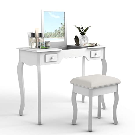 Sensational Giantex Vanity Table And Stool Set Top Flip Mirror Cushioned Bench Vanities Desk For Bedroom With Removable Organizers Makeup Tables Dresser Ncnpc Chair Design For Home Ncnpcorg