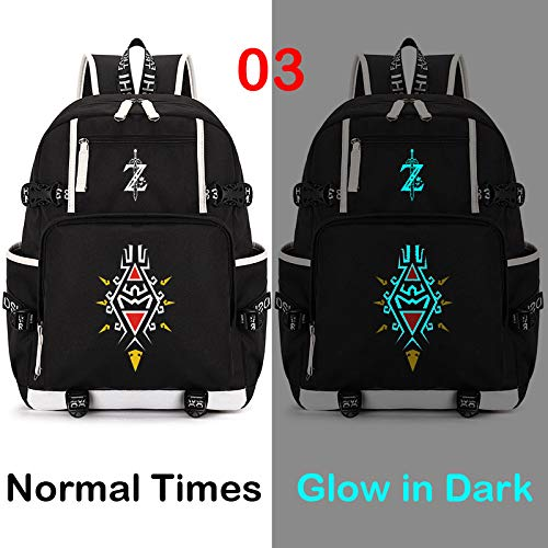 DCW The Legend of Zelda Breath of The Wild Sheikah Eye Luminous Backpack Schoolbag Cosplay Bookbag Casual Game (style1) (Breath Of The Wild In Zelda Timeline)