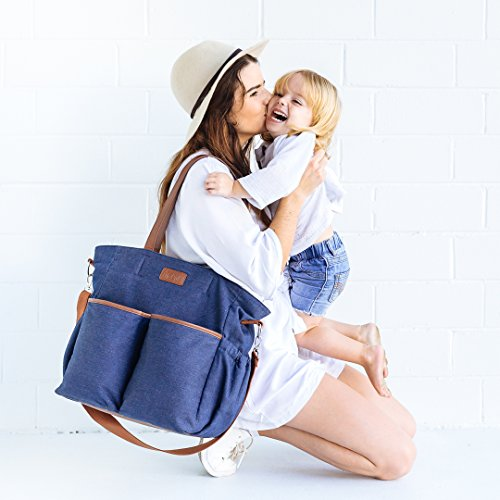 Denim Diaper Bag Tote by Hip Cub - W/ Super Cute Matching Baby Changing Pad