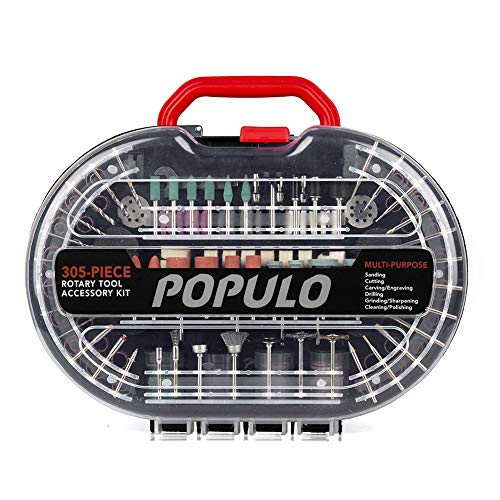 Populo 305-Piece Power Rotary Tool Accessories Kit 1/8-inch Diameter Shanks Universal Fitment for Easy Cutting, Grinding, Sanding, Sharpening, Carving and Polishing and Storage Case.