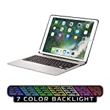 Keyboard Case for iPad Pro 12.9,7 Colors Backlight Slim Aluminum Wireless Keyboard with Protective Translucent Silicone Keyboard Cover and 5600 mAh Power Bank for iPad Pro 12.9 inch(12.9 Silver)