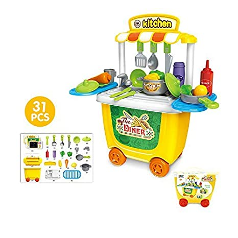 6ee92129a00 Amazon.com  Leagway Pretend Play Kitchen Trolley Toy Sets