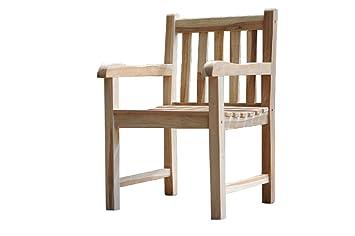 SAM® Sillón de jardín de teca, madera maciza, silla con ...
