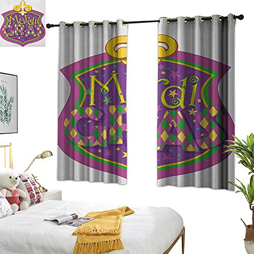 Warm Family Linen Curtains Mardi Gras,Blazon Design Festive Mardi Gras Inscription and Fleur de Lis Symbol, Purple Yellow Green 54