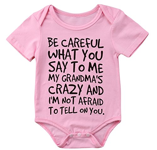 Charm Kingdom Baby Boy Girl be Careful What You Say to me My Grandmas Crazy Bodysuit (80 (6-12M), -