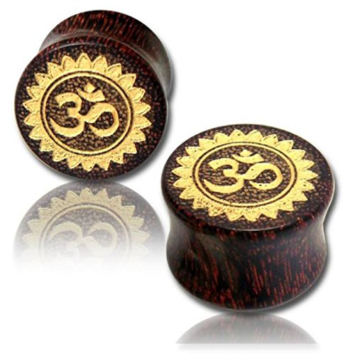 Hand Carved Organic Plug - Chic Net wood plug Tamarind Wood Flower Om gold painted laser engraving hand-carved tribal Tunnel Organic 08 mm
