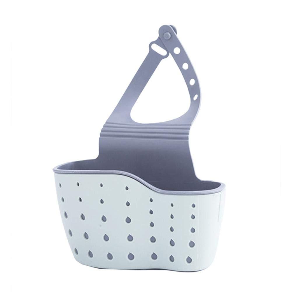 Sponge holder for Kitchen Sink, bathroom, toilet, Hanging Sink Caddy Organizer with Adjustable Strap, hanging vertical snap double-deck storage bag, convenient drain storage rack