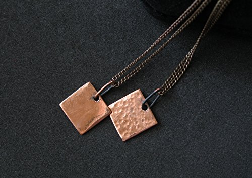 Engagement gift for couple Bride and groom present on wedding day Her and his necklaces Unisex Men Women pendant Copper minimalist square geometric simple hammered rustic Delicate Elegant