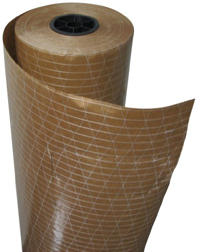Plasticover Reinforced Kraft Floor Protection Paper, Plastic Coated and Fiberglass Threading, Brown, 36 Wide by 200 Long