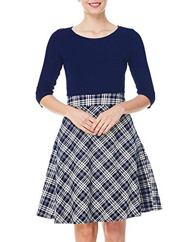 Women's Midi Cocktail Sleeve Party Plaid Vintage A line Kenancy Blue Dress 4 3 Patchwork 6dPBqPzw