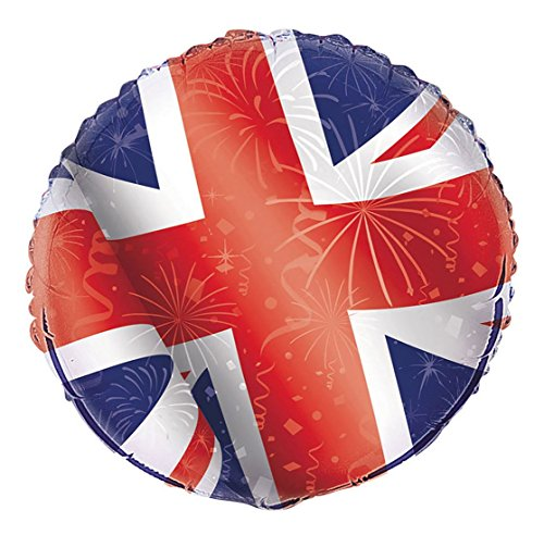 Rimi Hanger British Union Jack Foil Britain Balloon 18 Inches Party Celebration Accessory One Size]()