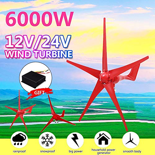LiRongPing 6000W 12V/24V Wind Turbines 5 Blades Generator Option with Wind Controller for Home Camping Streetlight Mounting Accessorie (Voltage : 24V)