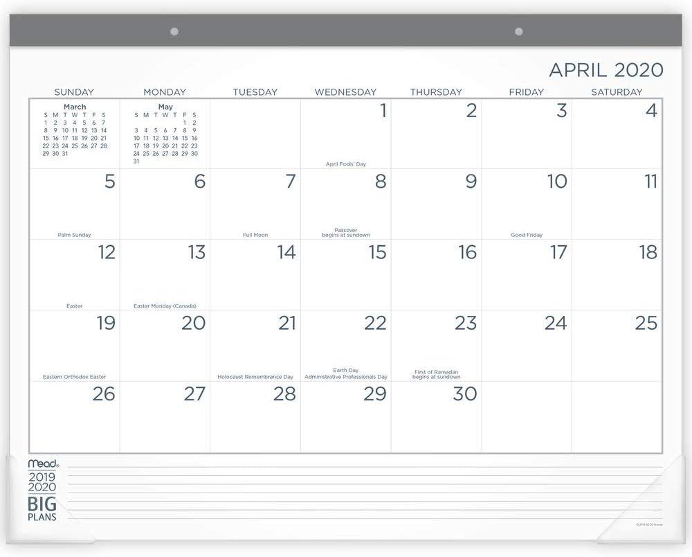 21-3//4 x 17 CAM93020 Standard Academic Desk Calendar 2020-2021 Mead Monthly Desk Pad Calendar