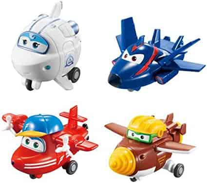 Super Wings Transform-a-Bots 4 Pack | | Flip, Todd, Agent Chase, Astra, | 2