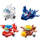 """Super Wings Transform-a-Bots 4 Pack     Flip, Todd, Agent Chase, Astra,   2"""" Scale"""