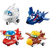 """Super Wings - Transform-a-Bots 4 Pack   Flip, Todd, Agent Chase, Astra   Toy Figures   2"""" Scale"""