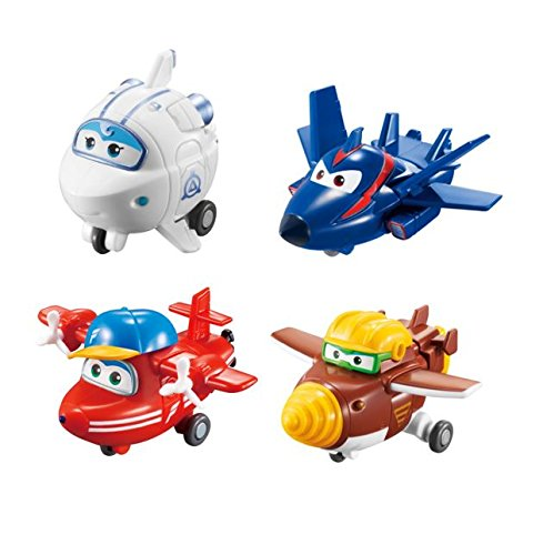 (Super Wings - Transform-a-Bots 4 Pack | Flip, Todd, Agent Chase, Astra | Toy Figures | 2