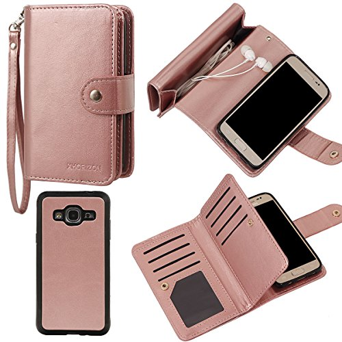 xhorizon TM FLK [Upgrade] 2 in 1 Leading Design Top Notch Bifold Magnetic Car Mount Phone Holder Compatible Folio Leather Wallet Case Cover for Samsung Galaxy J3 2016/Express Prime (Rose-gold) by xhorizon