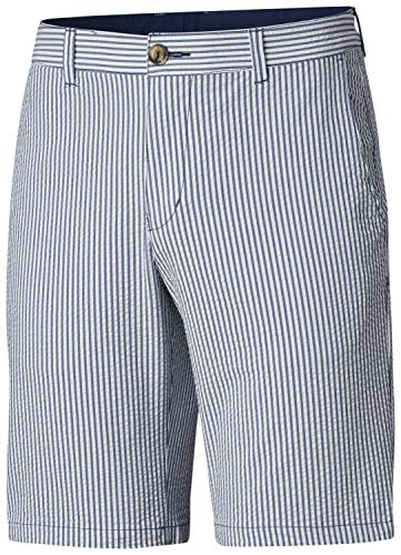 (Columbia Men's Super Harbor Side Chino Shorts, Size 36 x 10, Carbon Seersucker Stripe)