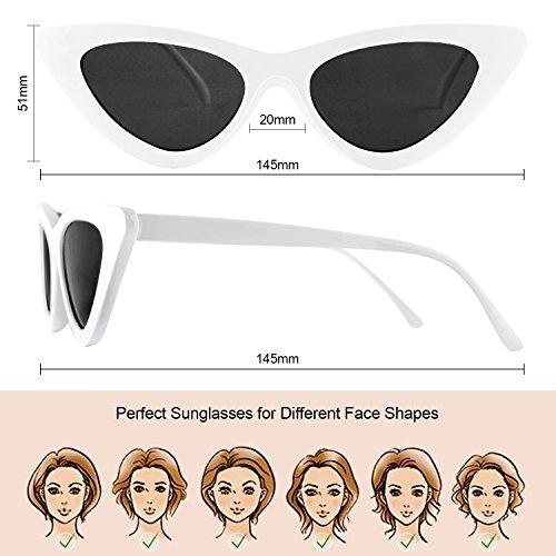 de Sunglasses blanc Lunettes Frame Femme Cat Retro Gris Eye Triangle Soleil Elimoons Eyewear Plastique Vintage 03 FpEIqHw