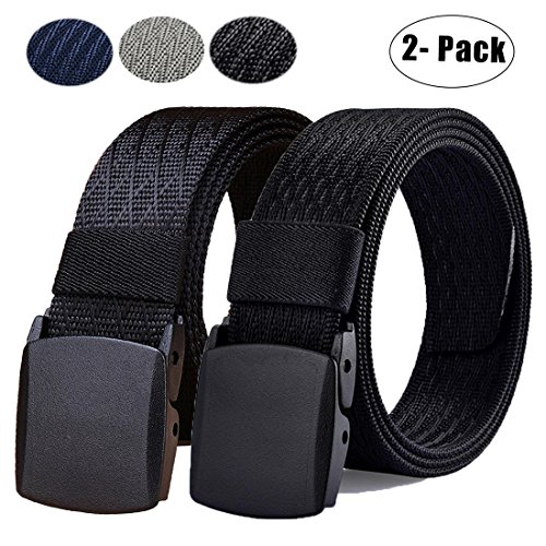 2 Mens Casual Belts - 2 Pack: WYuZe Mens Nylon Webbing Belt No Metal Buckle Military Tactical Web Belt