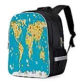 Fashion Elementary Student School Bags- Cartoon Animal World Map Pattern Durable School Backpacks Outdoor Daypack Travel Packback for Kids Boys Girls