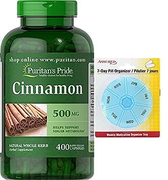 Pride canela de Puritan 500 mg-400 cápsulas con gratis 7 días plástico píldora organizadores