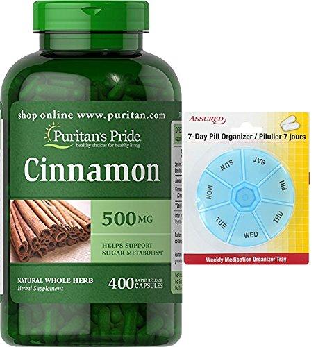 Amazon.com: Pride canela de Puritan 500 mg-400 cápsulas con gratis 7 días plástico píldora organizadores: Health & Personal Care