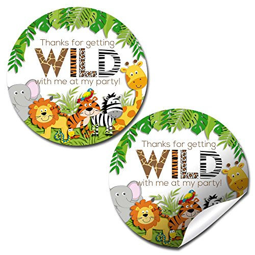(Jungle Wild Birthday Party Thank You Sticker Labels, 40 2