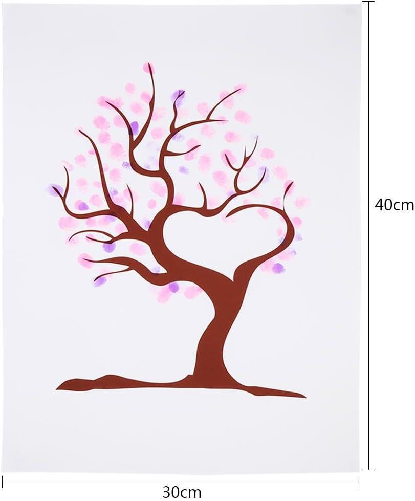 SwirlColor Mariage Guestbook Tree Fingerprint Empreinte Digitale De Mariage Toile Imperm/éable avec 1 Couleur Al/éatoire inkpad
