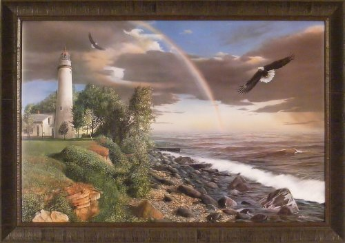 Power and Courage by Kevin Daniel 29x41 Eagles Soaring Lighthouse Rainbow Water Framed Art Print Wall Décor Picture ()