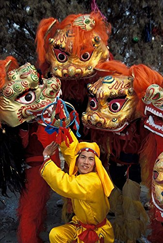 Lion Dance Celebrating Chinese New Year, Beijing, China by Keren Su/Danita Delimont Art Print, 34 x 50 inches