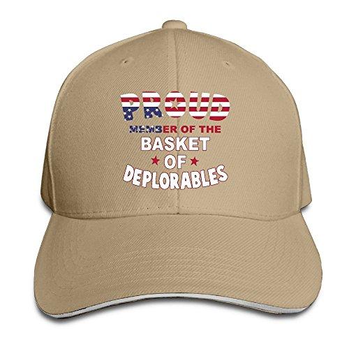 GD54 Proud Member Of The Basket Of Deplorables Adjustable Sandwich Hunting Peak Hat & Cap Natural