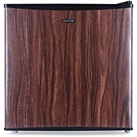 BESTEK Compact Refrigerator and Freezer, Single Reversible Door, 1.6 Cubic Feet Mini Size, Energy Star Qualified - Wood Grain Finish (UL Listed)