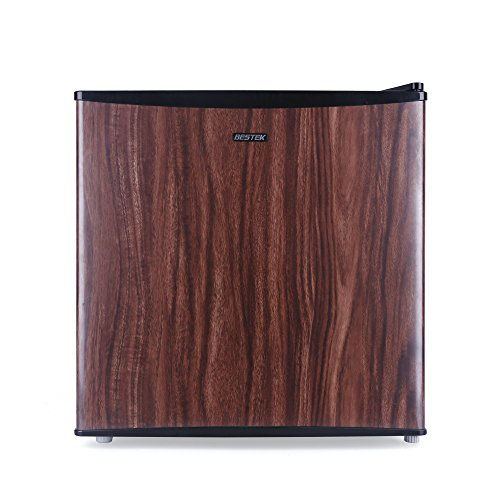 BESTEK Compact Refrigerator and Freezer, Single Reversible Door, 1.6 Cubic Feet Mini Size, Energy Star Qualified – Wood Grain Finish (UL Listed)