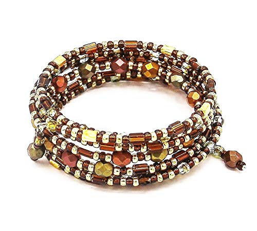 Multicolor Beaded Bracelet on SALE, Wraparound Memory Wire Bracelet