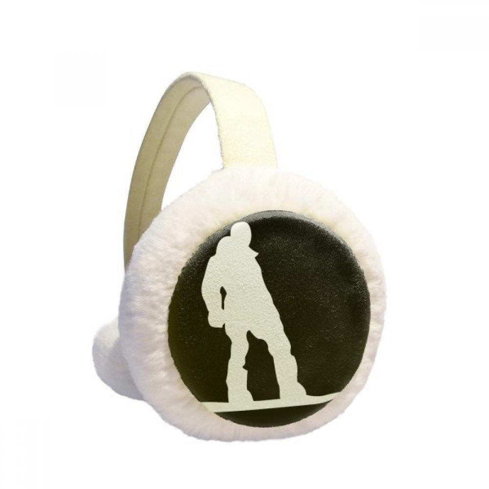 Skateboarding Sport Black Silhouette Pattern Winter Earmuffs Ear Warmers Faux Fur Foldable Plush Outdoor Gift