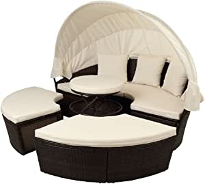 Outdoor Sectional Patio Sofa Set,5 Piece Round Wicker Rattan Daybed with Retractable Canopy, Removable Cushions, All-Weather Sunbed Sofa with Height Adjustable Table/Footrest, Beige