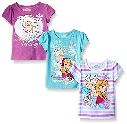 Disney Little Girls' Toddler 3 Pack Frozen T-Shirts, Purple, 3T (Toddler Purple Character T-shirt)