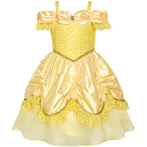 Girls Dress Yellow Princess Belle Costume Birthday Party Size 6 by Sunny Fashion