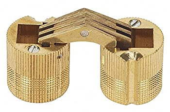 """Hidden Barrel Hinge Without Holes, Satin Brass Finish, 11/16"""" x 11/16"""", pack of 5"""