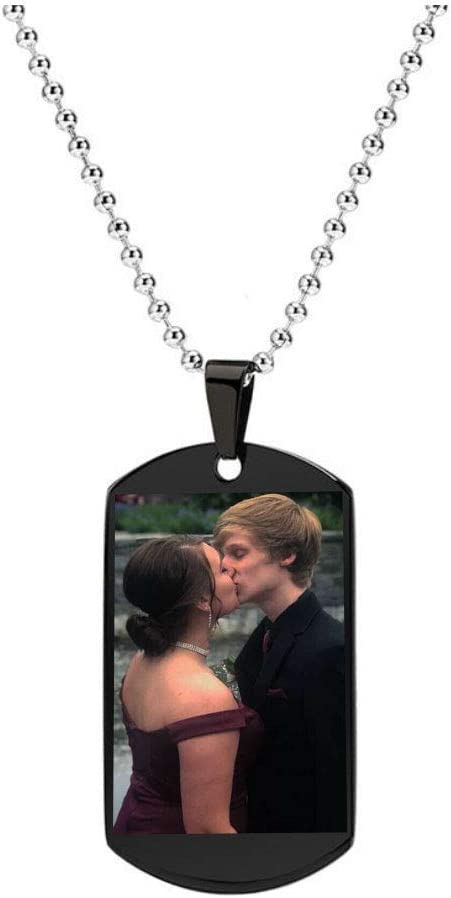 GazeKu Romantic Stainless Steel Couple Necklace with Her King or His Queen and Crown Dog Tag Pendant Inlayed with Square Crystal Gorgeous Jewelry Gift for Valentines Day his Queen,Custom with Text