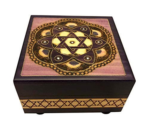 - MilmaArtGift Purple Polish Wooden Handmade Box with Star of David Judaica Keepsake Box