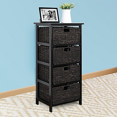 Easy Home Foldable 4-Drawer Chest in Black