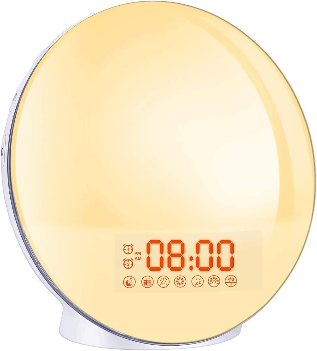 Cadrim Wake up Light, Natural Sunrise Simulation Alarm Clock Sunset Fading with Dual Alarm Clocks Snooze Function 7 Natural Sounds Setting Color Changeable Beside Nightlight and FM Radio for Bedroom
