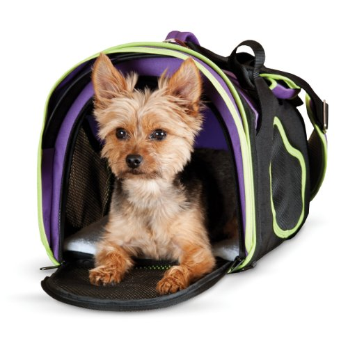 K&H Pet Products Comfy Go Carrier - Purple/Black/Lime - Large
