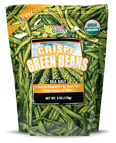 (USDA Organic Crispy Green Beans by Paradise Green with Sea Salt 6oz)